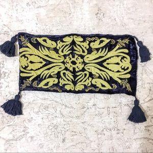 100% Silk Blue Velvet Pillowcase w/Tassels